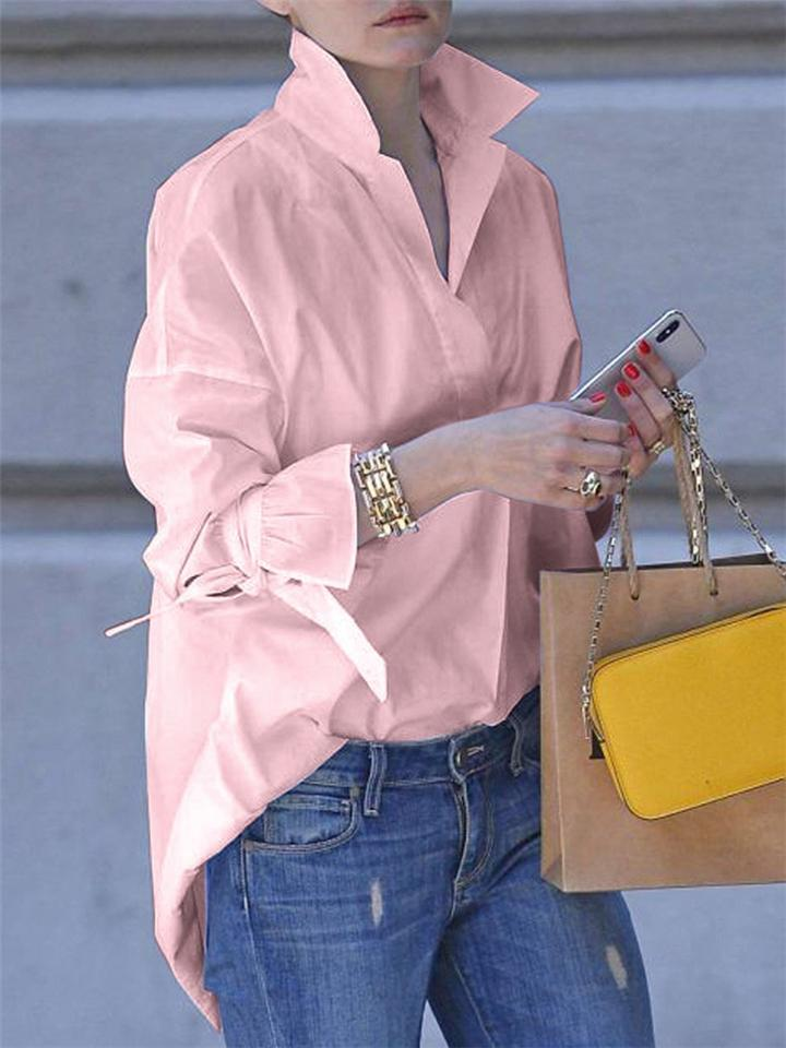 Casual Long Sleeve lapal Plain Blouse