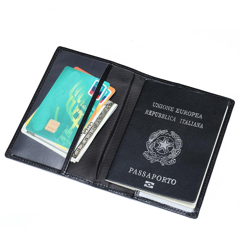 Black Genuine Leather Bifold Durable Passport Holder Card Holder Ticket Holder