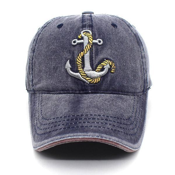 Washed Denim Anchor Embroidered Pattern Sunshade Baseball Cap