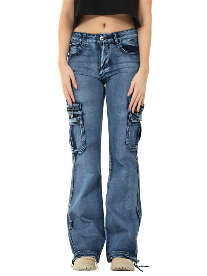 Casual Style Mid-Rise Zipper Multi-Pocket Straight Leg Jeans