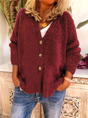 V Neck Front Button Knit Sweater Outwear