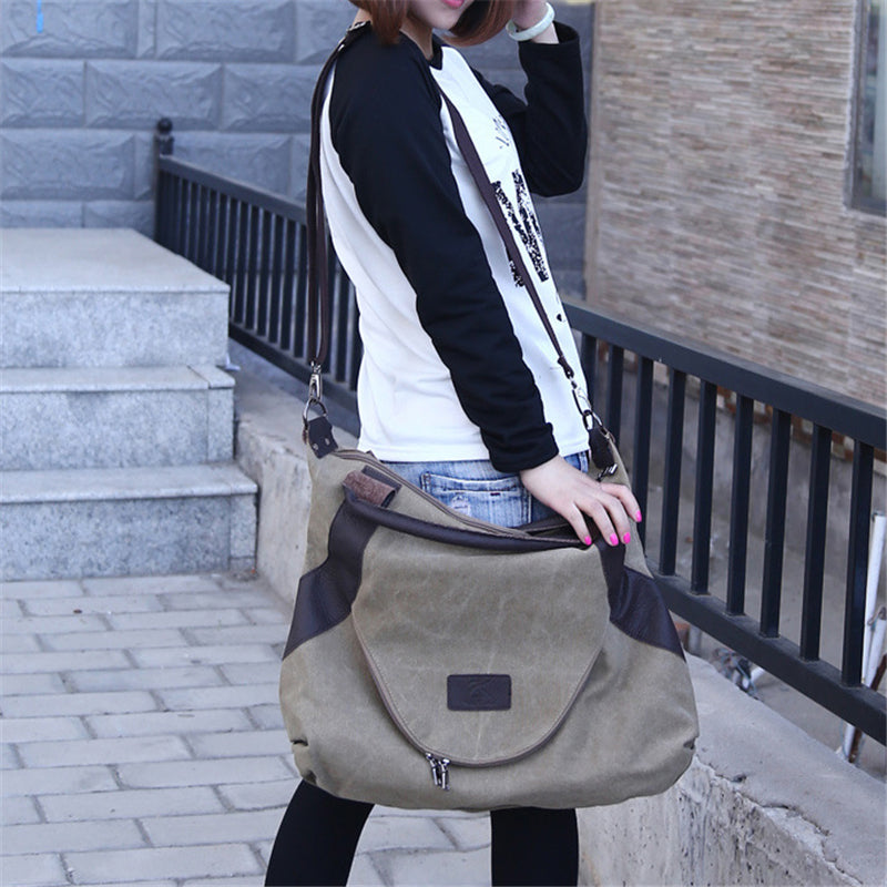 Minimalist Style Large Capacity Canvas Tote Crossbody Shoulder Bag