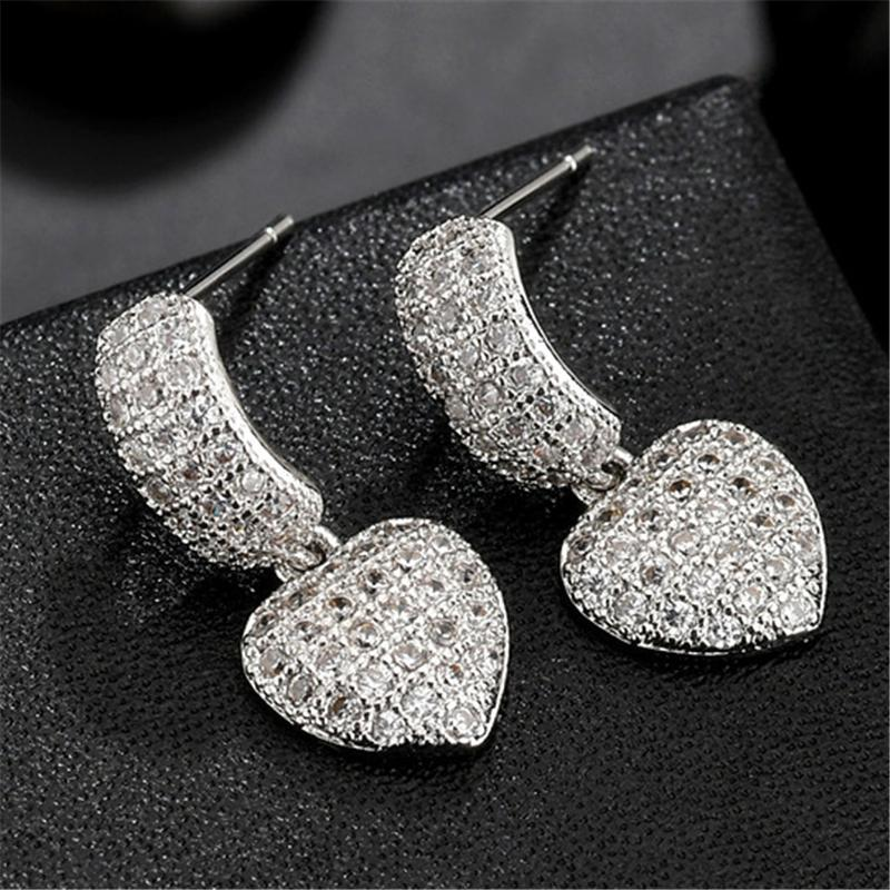 Pretty Sweetheart Zircon Dangled Earrings