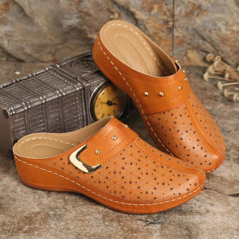Women Retro Hollow flower Comfy Casual Wedges Slippers
