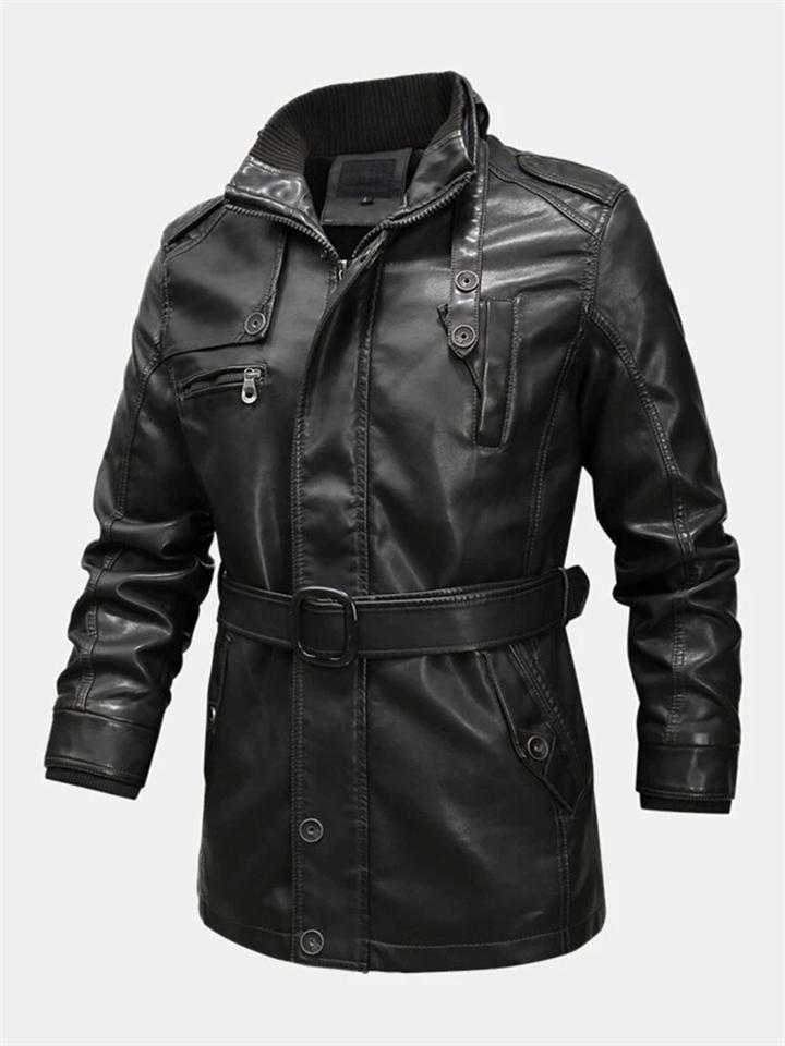 Men Winter Fashion Fleece Lined Midi Leather Jacket With Waistband