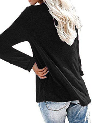Relaxed Fit Lace V Neck Long Sleeve Pullover Shirt & Tops