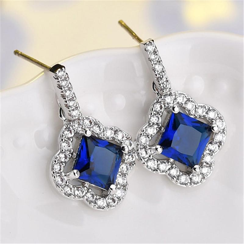 Stylish Zircon Square Shaped Dangled Earrings