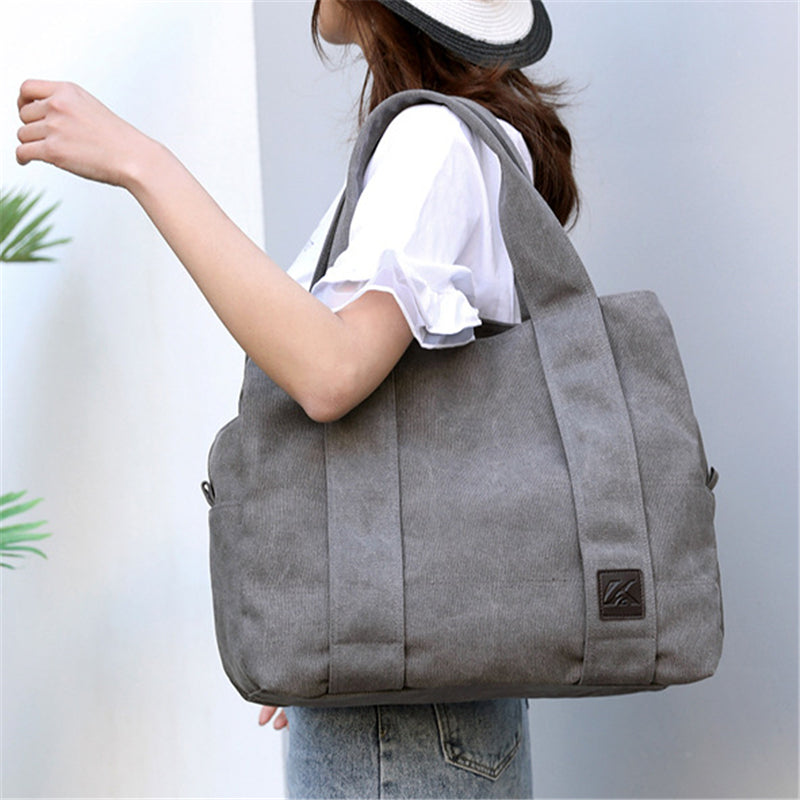 Casual Style Large Capacity Multi-Pocket Canvas Shoulder Bag
