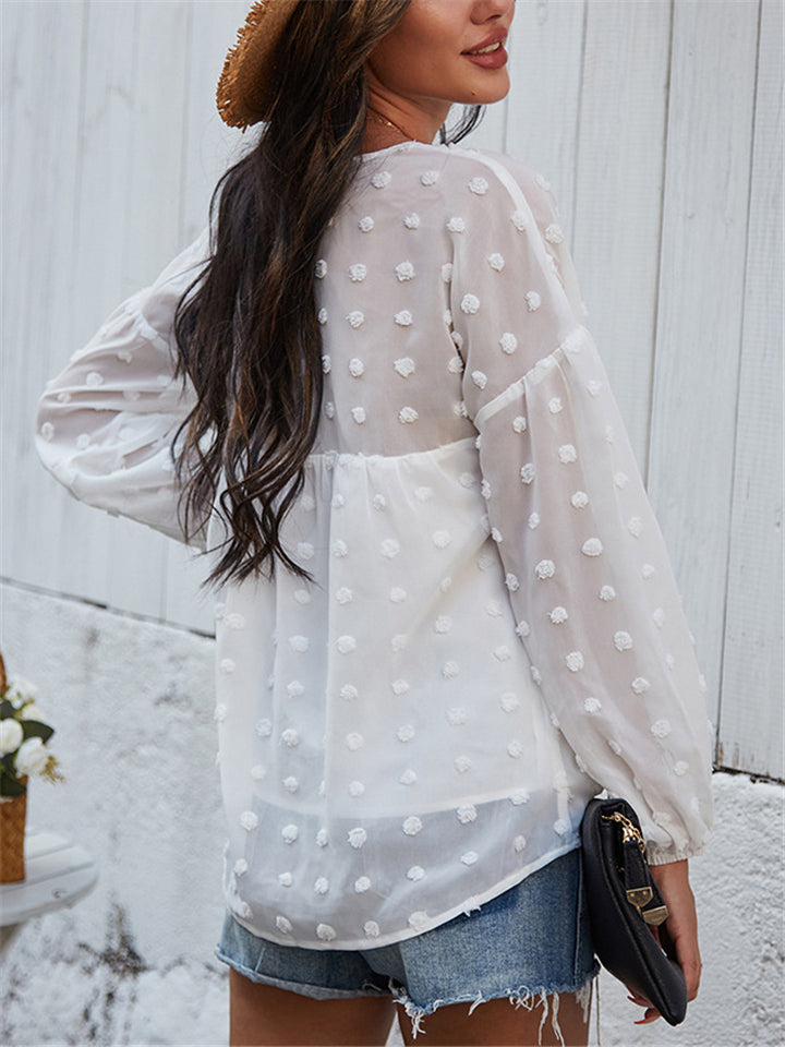 Stylish V Neck Elastic Cuff Long Sleeve Chiffon Pullover Blouse