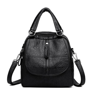 Women's Multifunction Soft PU Leather Handbag Double Layer Large Capacity Backpack