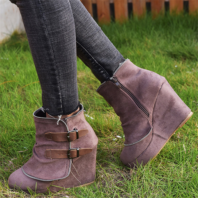 Retro Style Buckle Up Wedge High Heel Artificial Leather Ankle Boots