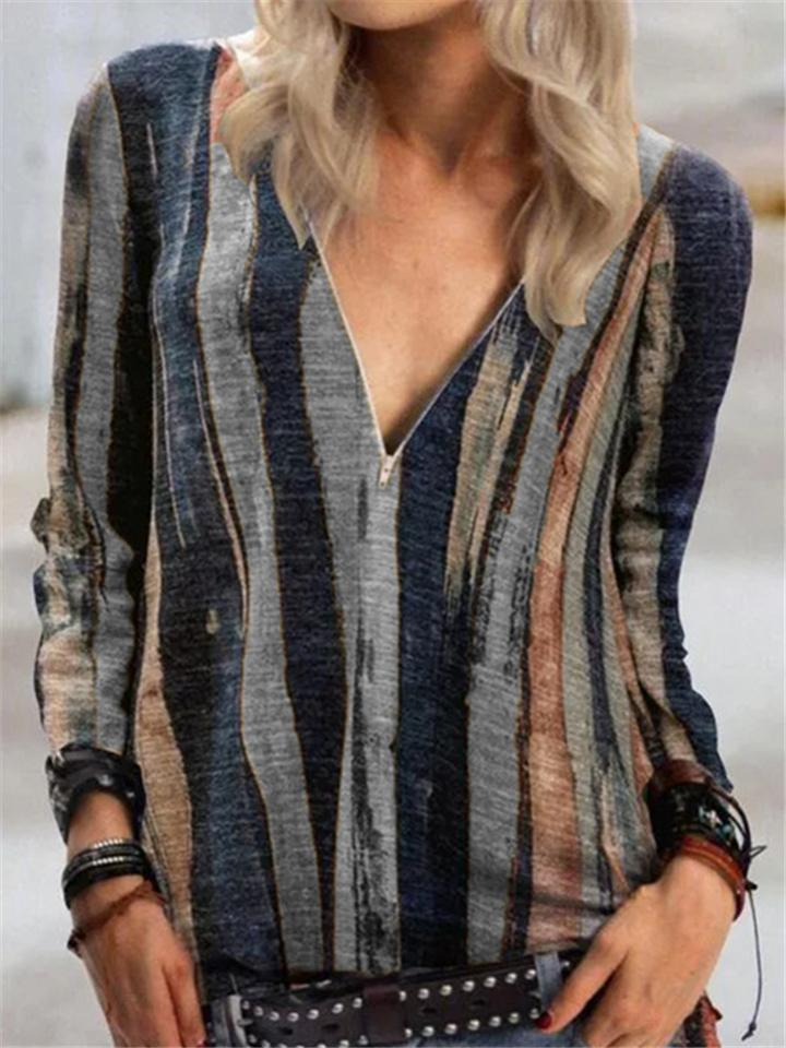 Stylish Stripe Color Block Printed V Neck Zipper Top