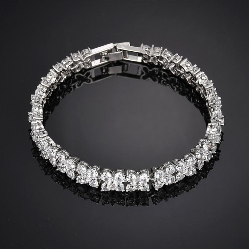 Shimmering Plated Cubic Zirconia Classic Floral Bracelet