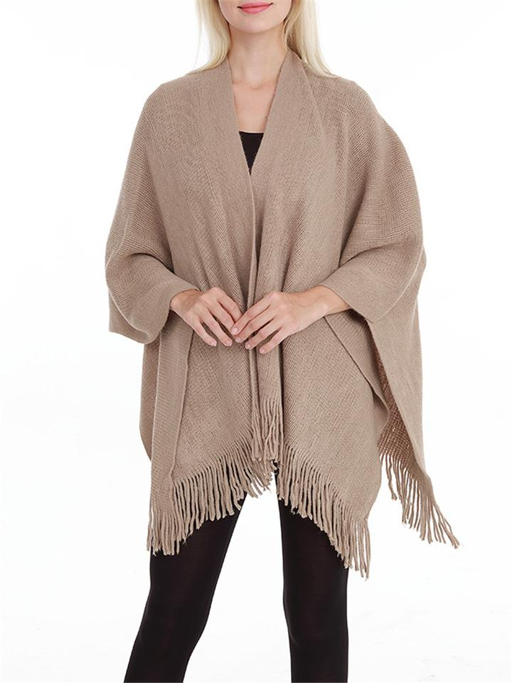 Women's Tassel Solid Color Knitted Shawl