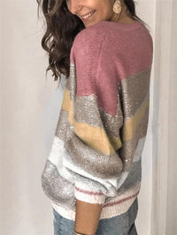 Color Block Round Neck Pull Over Knit Sweatshirt