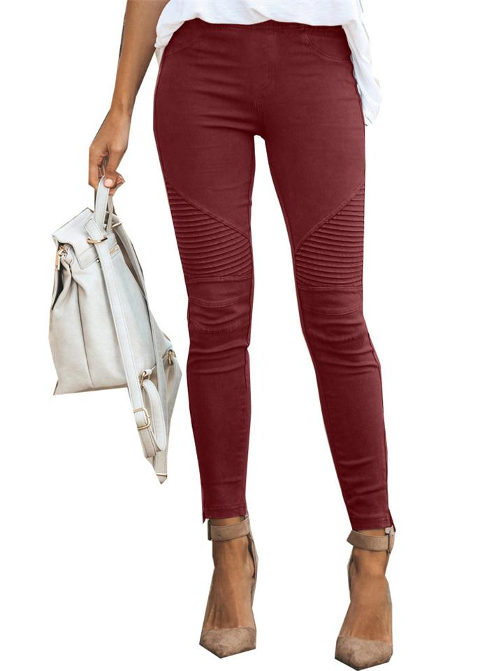 New Fashion Casual Solid Color Elastic Skinny Pants For Women