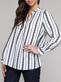 Classic Black White Striped V Neck Button Up Long Sleeve Blouse For Women
