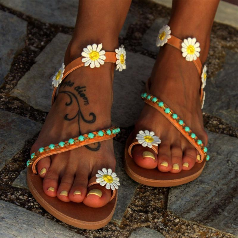 Flower Flat Open Toe Casual Comfort Sandals