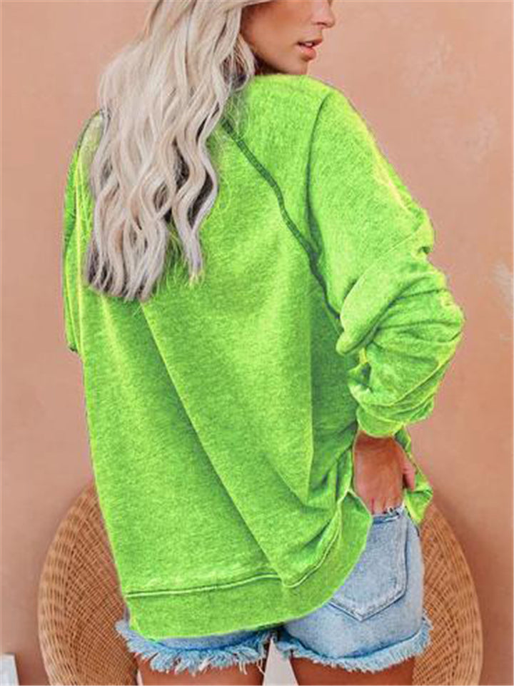 Casual Round Neck Grinch Printed Long Sleeve Shirt