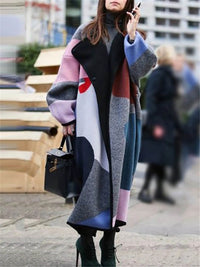 Color Block Fleece Lapel Button Long Coat