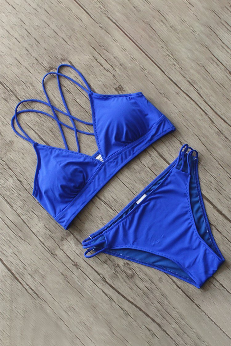 Solid Color Hollow Strapped Bikini Set