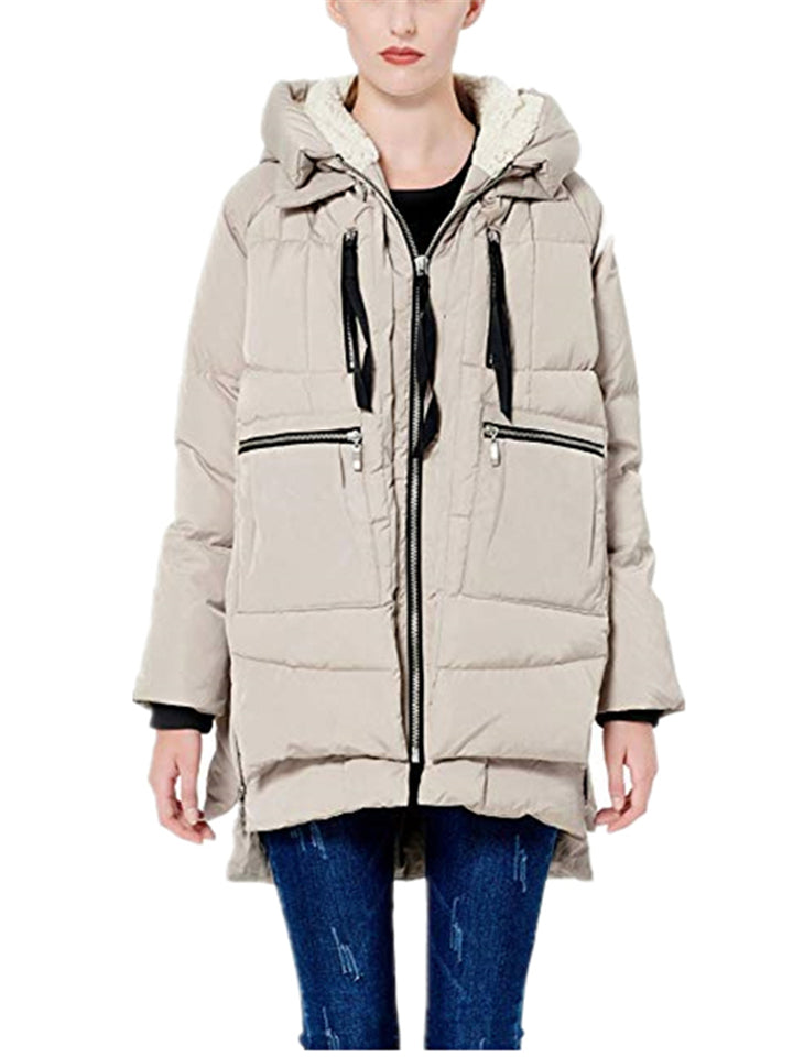 Ultra Warm Full Zip Up Front Pocket Hooded Thickened Down Coat