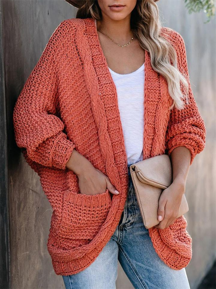 Relaxed Casual Solid Color Long Sleeve Loose Cardigan With Pockets