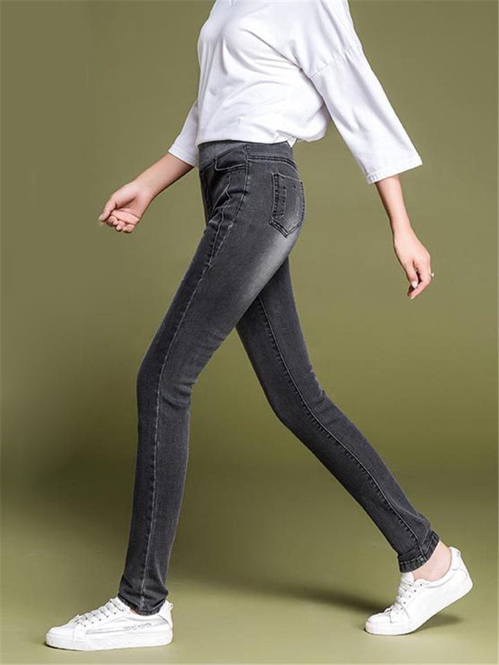 Large size High Waist Solid Color Slim-fit Elastic Waist Denim Pencil Pants