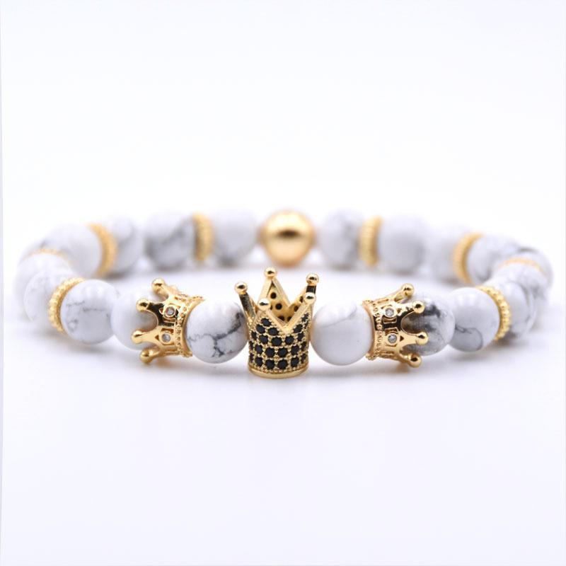 Natural Stone Beads Crown Bracelet