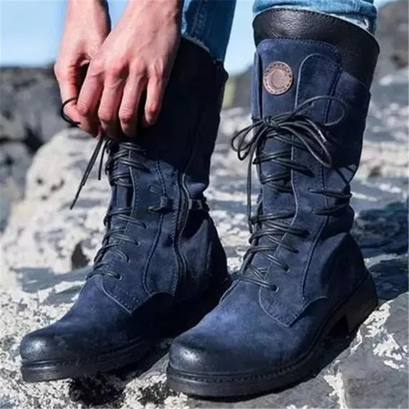 Winter Warm Cotton Lined Lace-up Mid-Calf Combat Boots