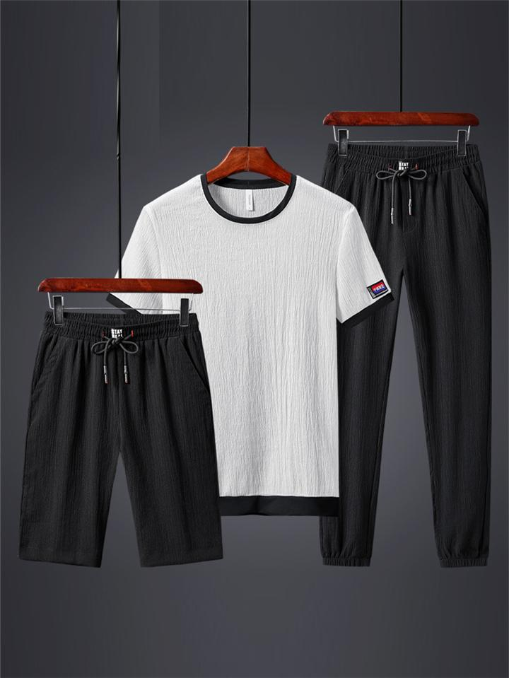 Men's Slim Fit 3 Piece Short Sleeve Shirt + Shorts + Trousers