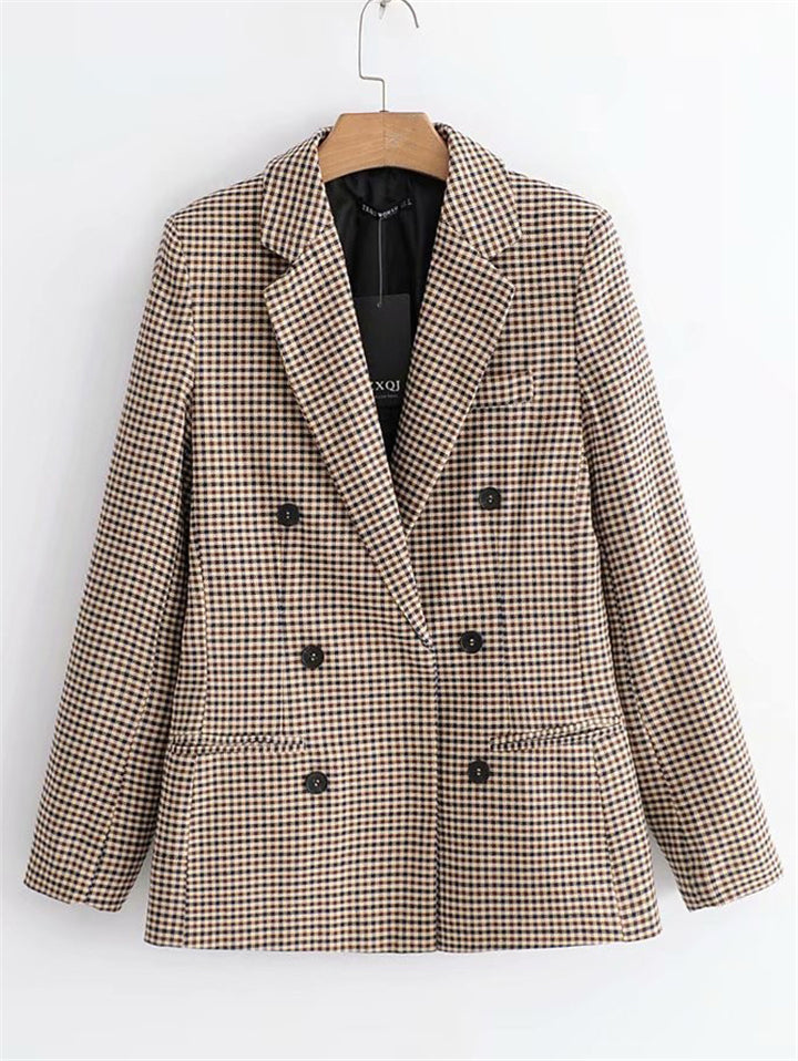 Notched Lapel Collar Double Breasted Welt Pocket Plaid Blazer