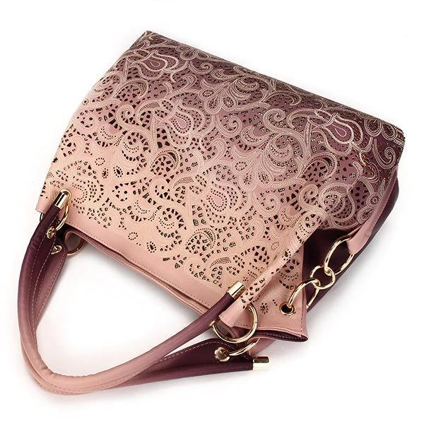 Women Elegant Vintage Hollow Out PU Leather Handbags