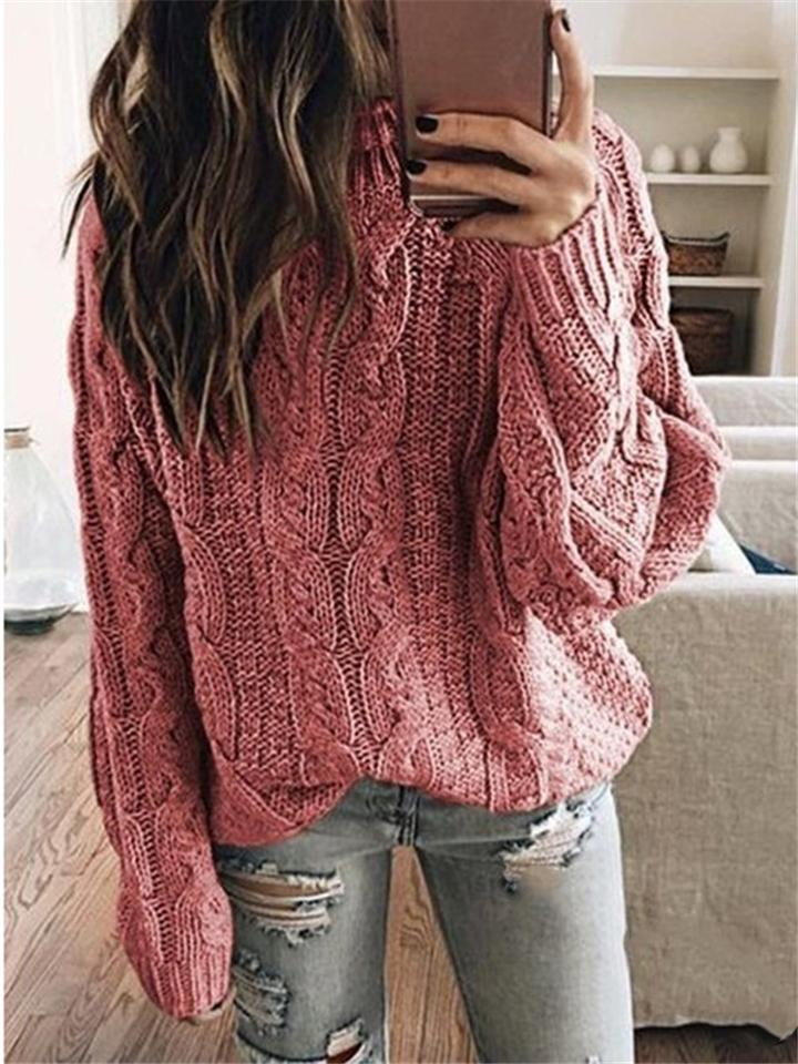 Casual Turtleneck Long Sleeve Basic Knit Sweaters