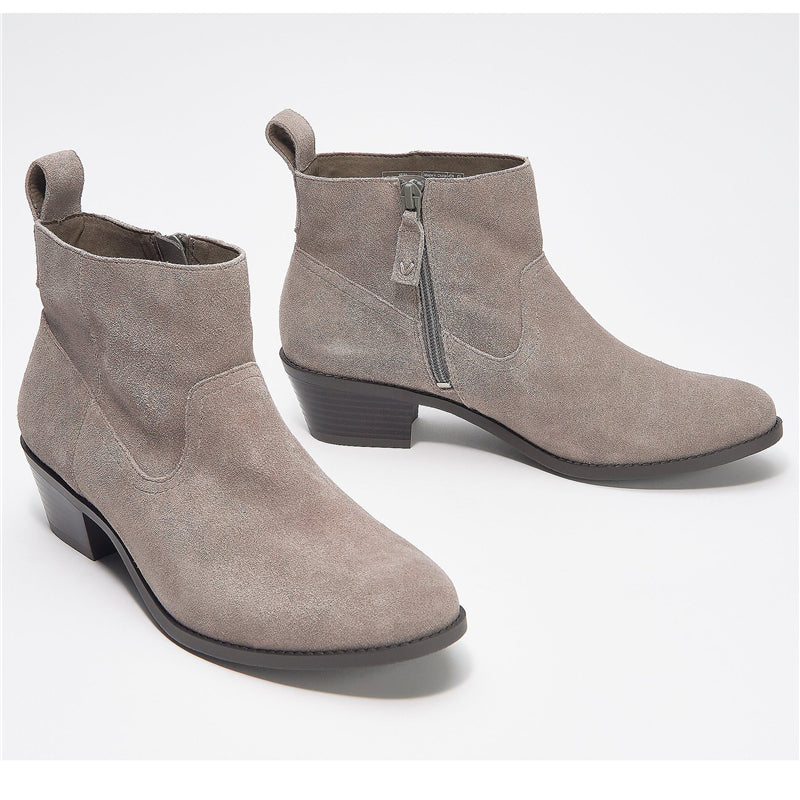 Winter Nubuck Leather Chunky Heel Short Boots For Women