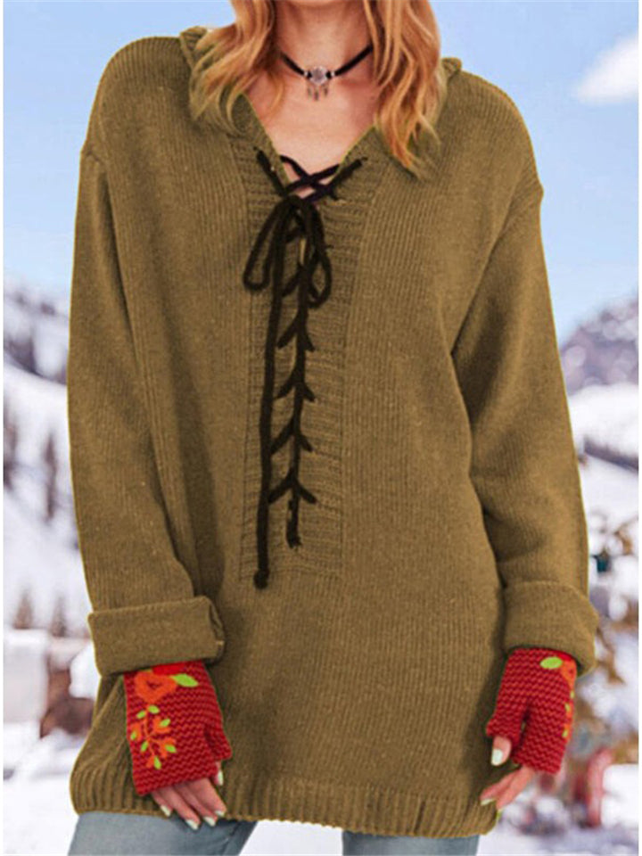 Casual Fit Front Lace-Up Solid Color V Neck Knitted Sweater