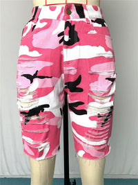 Camouflage Color High-waisted Trousers For Women