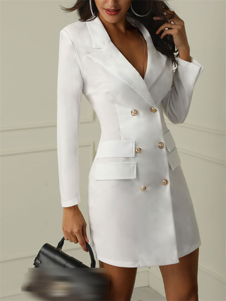 Slim Fit Lapel Collar Flap Pocket Double-Breasted Midi Length Jacket