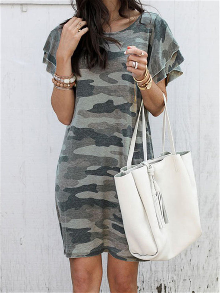 Camouflage Short Sleeve Round Neck Dress