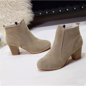 Women's Fashion Suede Middle Heel Ankle Boots