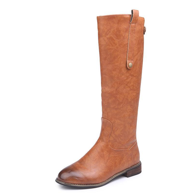 Leather Flat Boots Knee High Marten Boots