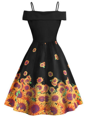 1950S Sunflowers Cold Shoulder Dress