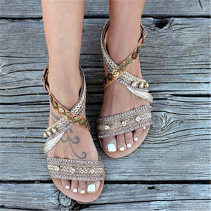 Fringed Metal Buckle Sandals