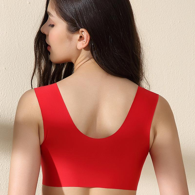 Comfortable Front Closure Seamless Wireless Bras - Red