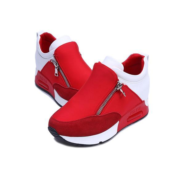 Fashion Wedge Hidden Heel Sport Shoes With Zips