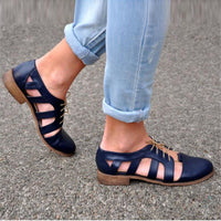 Round Toe Front Lace-Up Hollow Chunky Heel Shoes