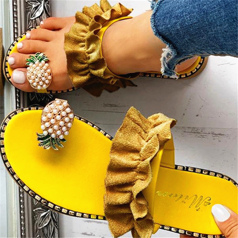 Women's Super Cute Pineapple Design Beach Slippers