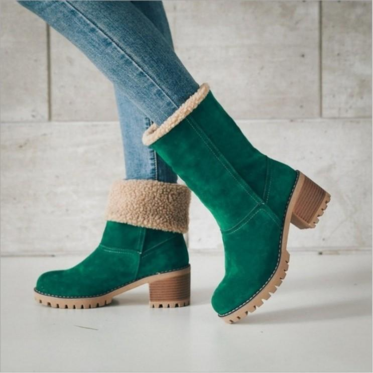 Warm Square Heels Ankle Snow Boots For Women