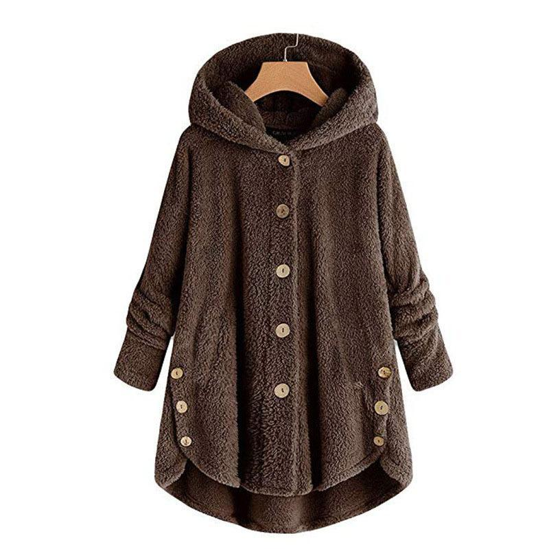 Women's Long Sleeve Cozy Fleece Hooded Button Coat