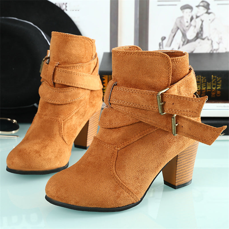 Retro Style Chunky High Heel Back Zipper Buckle Up Suede Short Boots